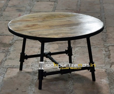 Round Top Cast Iron Wheel Design Center Table Furniture