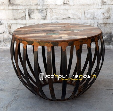 Rustic Round Reclaimed Coffee Table Furniture