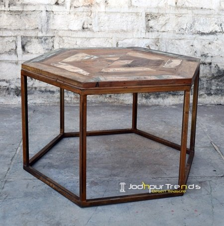 Rustic Finish Reclaimed Wood Center Table Furniture