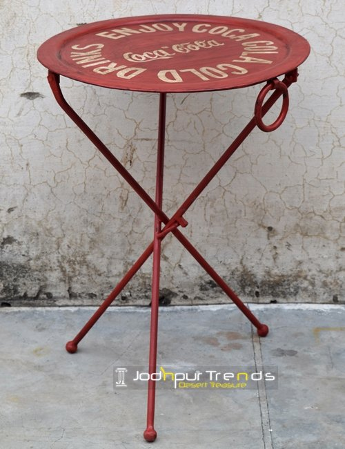 Hand Painted Metal Folding Cafe Bistro Table