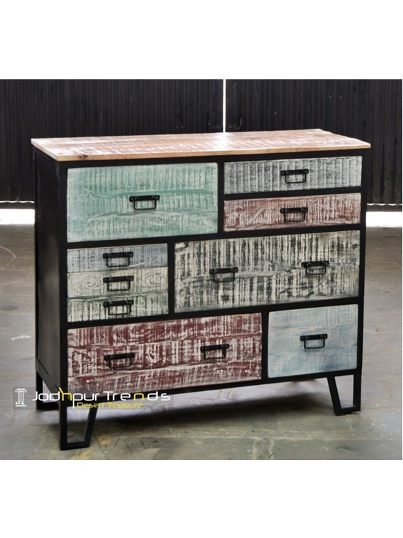 Distress Painted Country Side Drawer Chest