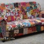 Traditional Colorful Gudri Fabric Three Seater Sofa