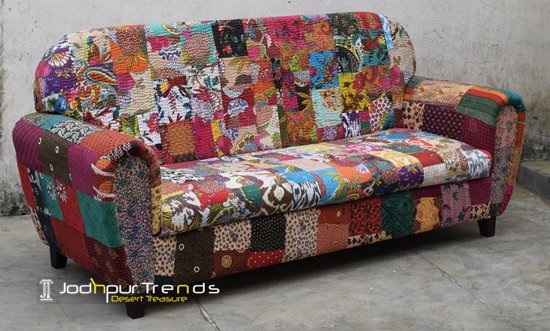 Traditional Colorful Gudri Fabric Three Seater Sofa