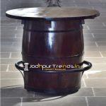 Barrel Design Natural Wood Metal Work Round Table