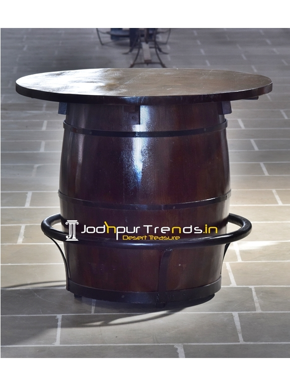Barrel Design Natural Wood Metal Work Round Table