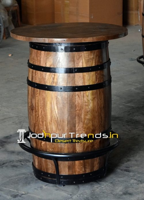 Barrel Design Walnut Finish Bar Pub Table