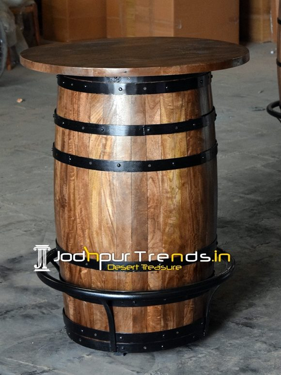 Barrel Design Walnut Finish Bar Pub Table