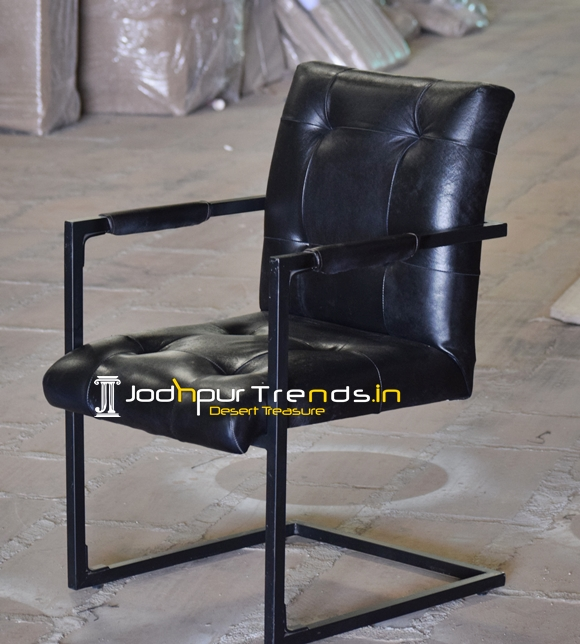 Bent Metal Tufted Upholstered Leather Find Dine Chair