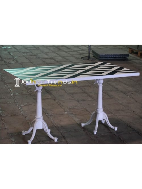Black & White Duel Leg Metal Top Outdoor Table