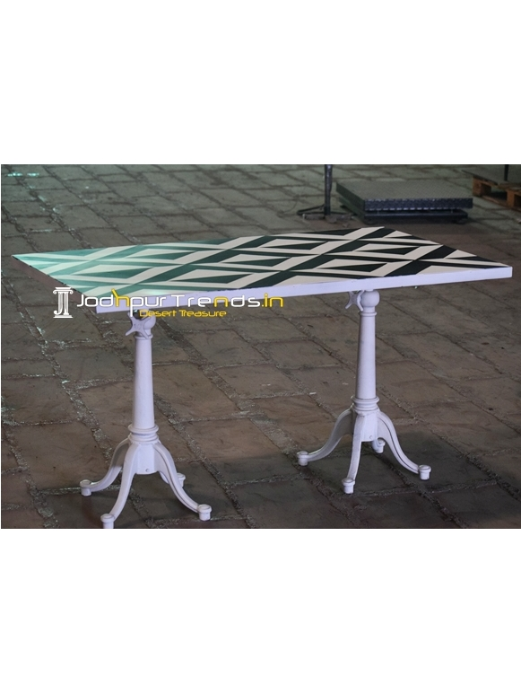 Black & White Duel Leg Metal Top Outdoor Table