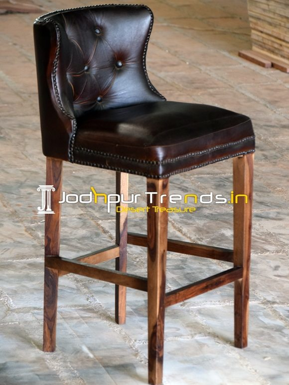 Brown Leather Tufted Wooden Frame Pub Chair