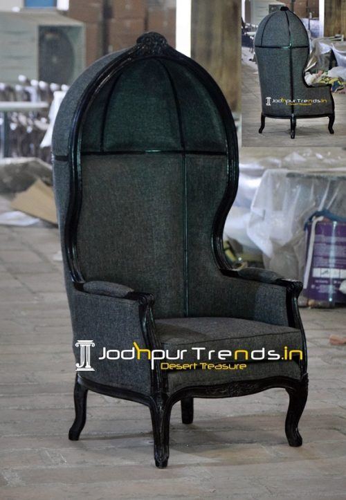Carved Design Fabric Upholstered Victorian Balloon Chair