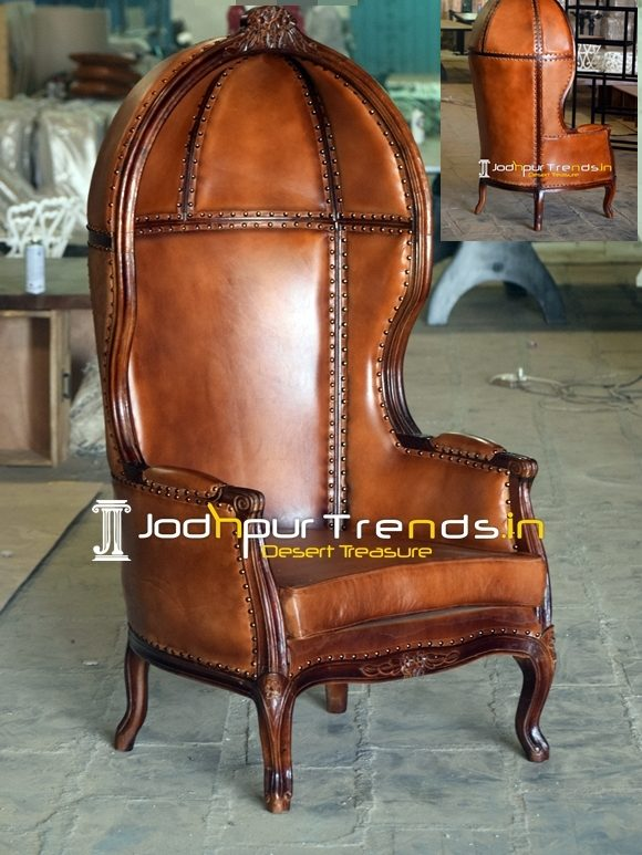 Carved Design Leather Upholstered Victorian Balloon Chair