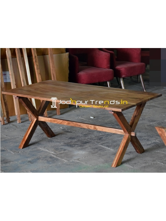 Cross Leg Natural Finish Folding Dining Table Design