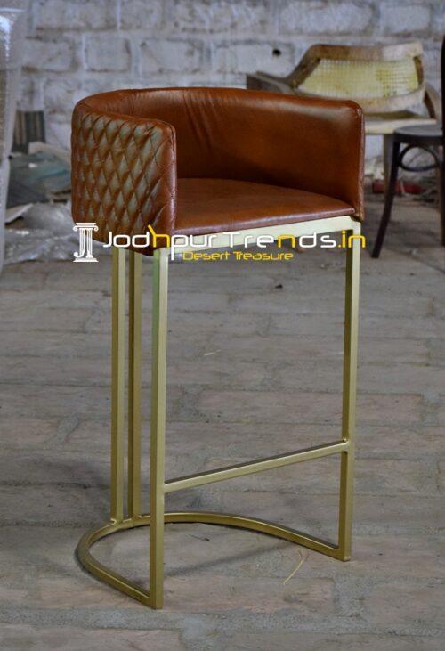 Designer Light Brow Metal Finish Bar Pub Chair