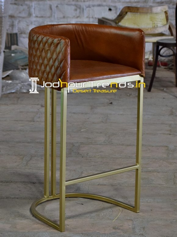 Designer Light Brow Metal Finish Bar Pub Chair