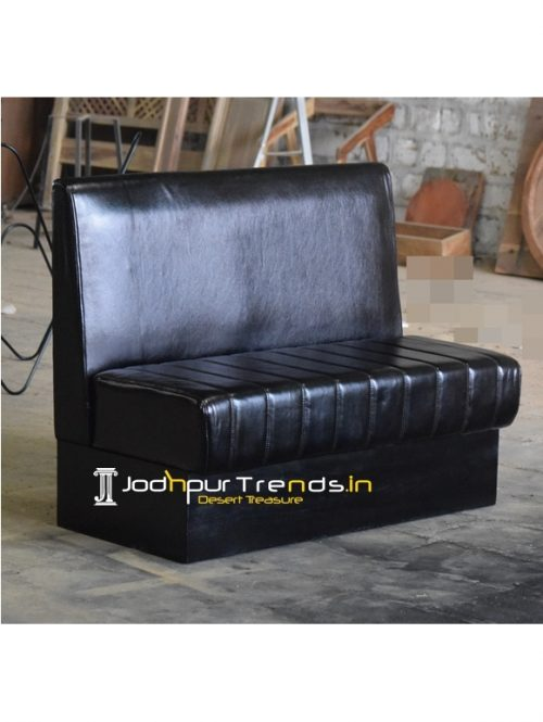 Designer Pure Leather Wooden Frame Restaurant Booth Sofa
