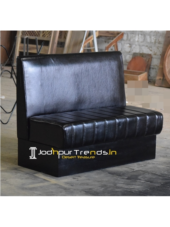 Designer Pure Leather Wooden Frame Restaurant Booth Sofa