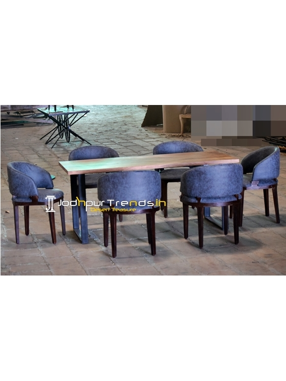 Fine Dine Upholstered Solid Wood Hotel Dining Table Design