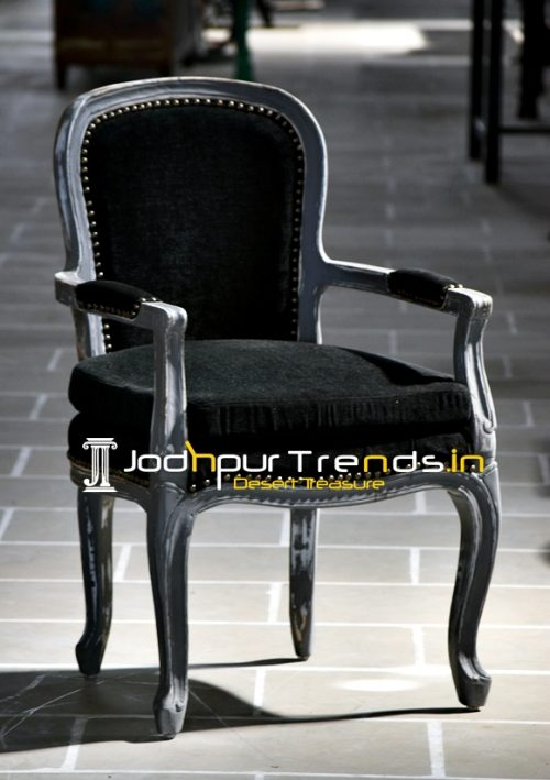 French Design Inspire Grey Shade Distress Accent Chair