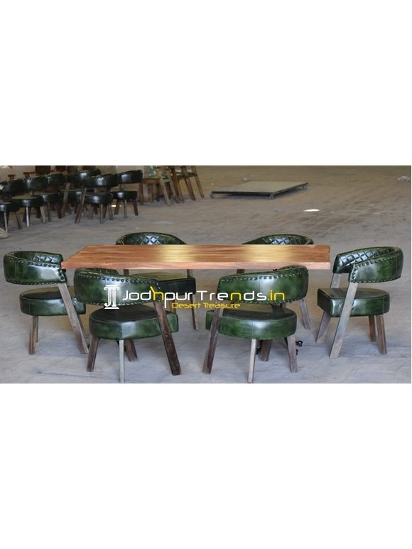 Genuine Leather Casting Legs Solid Wood Dining Set