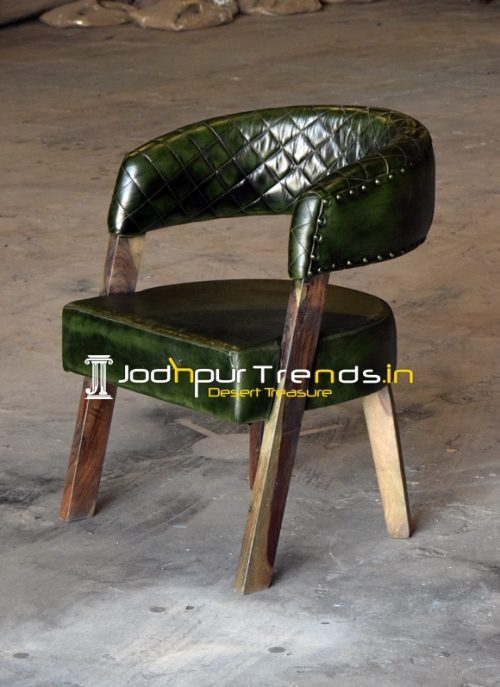 Genuine Leather Green Shade Fine Dine Chair