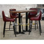 Genuine Leather Metal Finish Bar Pub Table design