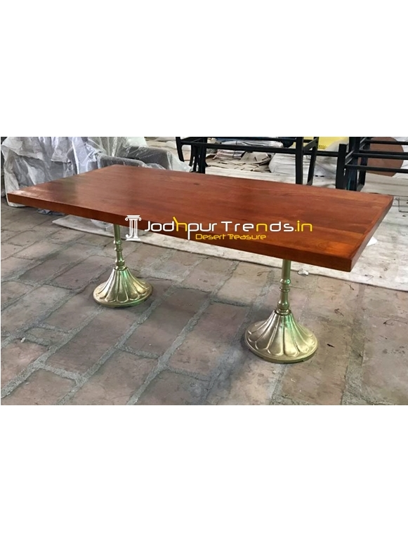 Golden Honey Teak Combo Solid Wood Folding Dining Table