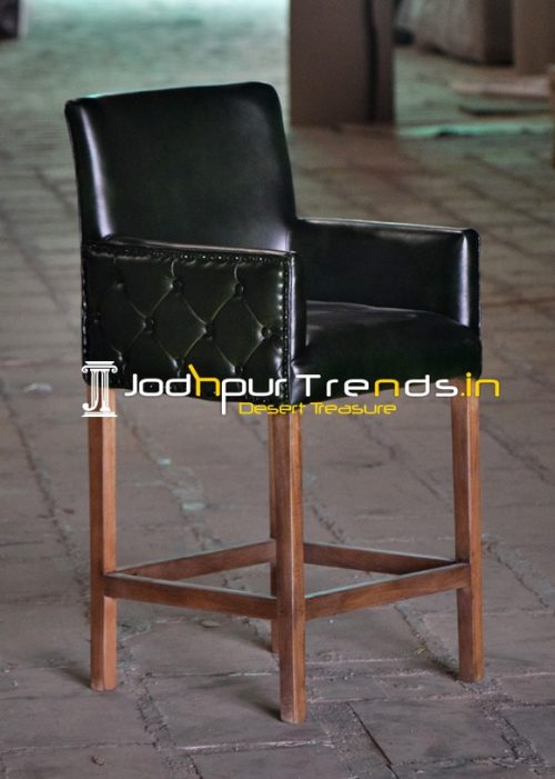 Green Tufted Upholstered Wooden Frame Bar Pub Chair