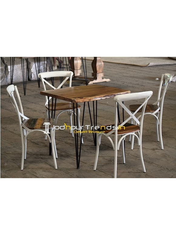 Hair Pin Design Live Edge Wood Four Seater Dining Set