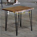 Hair Pin Metal Design Live Edge Acacia Wood Bistro Table
