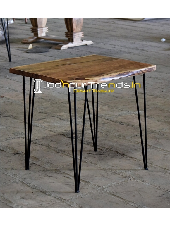 Hair Pin Metal Design Live Edge Acacia Wood Bistro Table