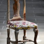 Indian Rosewood Hand Carved Upholstered Chair