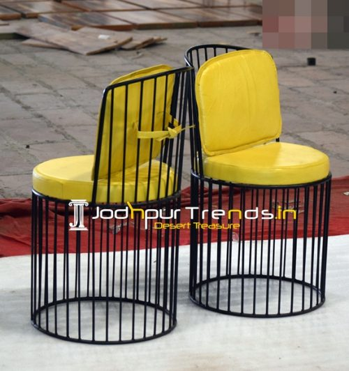 Iron Design Leatherite Comfort Outdoor Bistro Chair