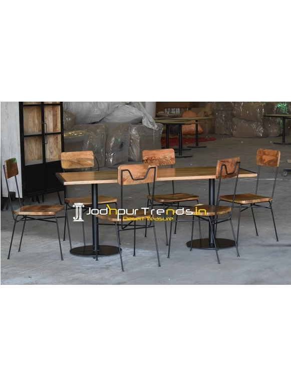 Iron Wooden Combo Industrial Style Dining Set