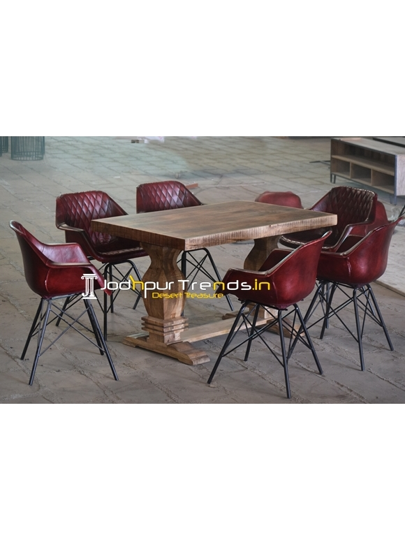 Leather Design Mango Aara Finish Industrial Dining Set