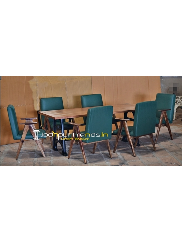 Leatherite Solid Indian Wood Casting Table Industrial Dining Set