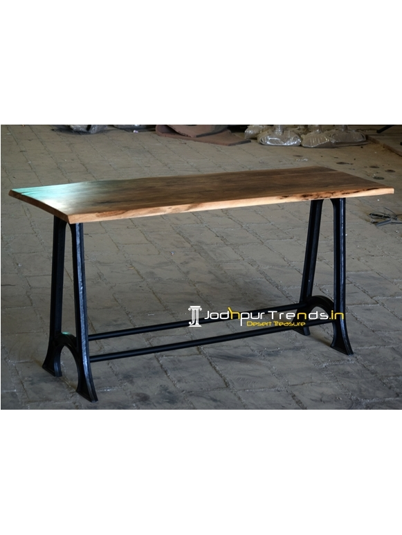 Live Edge Acacia Wood Cast Iron Long Table Design