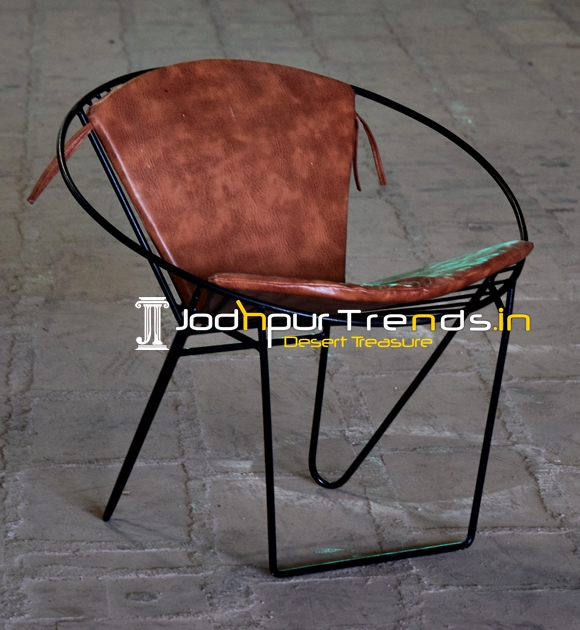 MS Iron Leatherite Design Industrial Outdoor Rest Chair