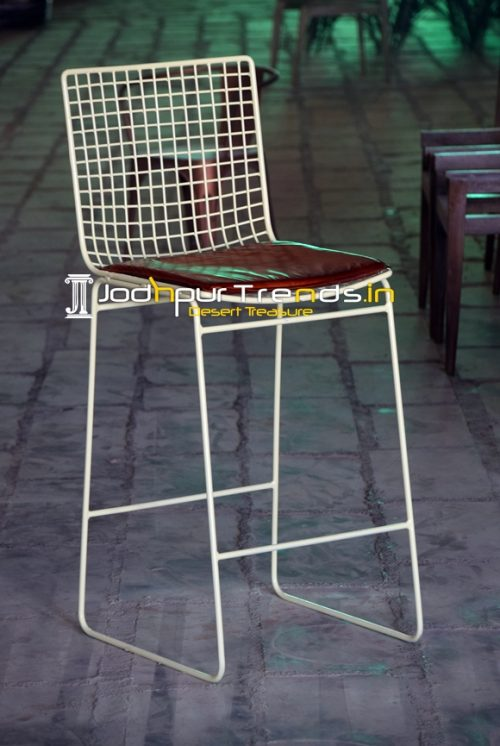 Mesh Design Metal Pub Chair With Leather Seating