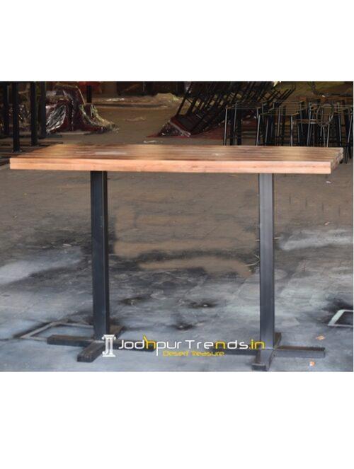 Metal Base Solid Wood Foldable Pub Table