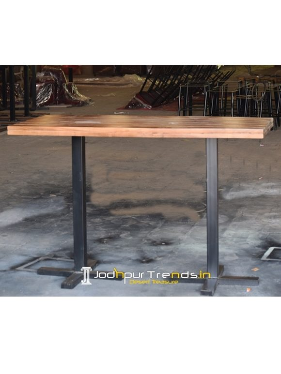 Metal Base Solid Wood Foldable Pub Table