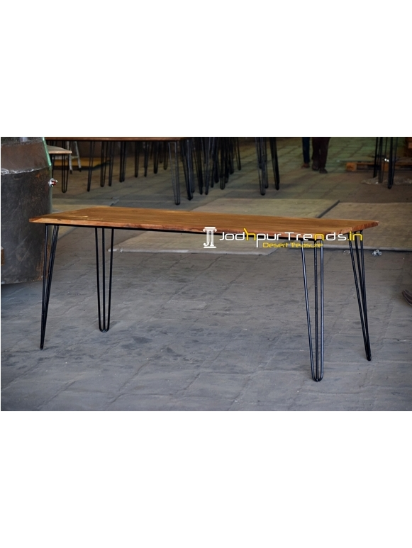 Metal Design Live Edge Acacia Wood Folding Hospitality Table