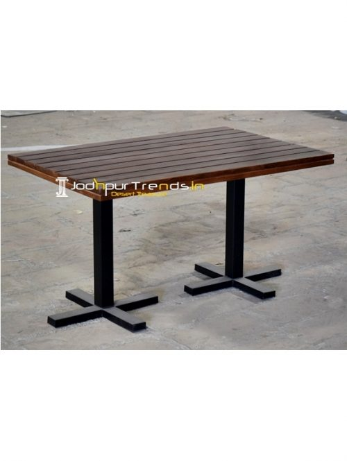 Metal Duel Base Solid Wood Folding Dining Table