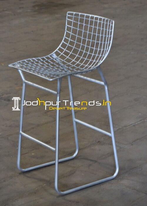 Metal Mesh Silver Finish Outdoor Bar Chair