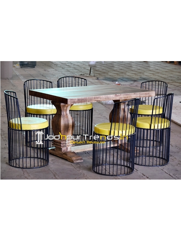 Metal & Raw Finish Wood Outdoor Patio Dining Table