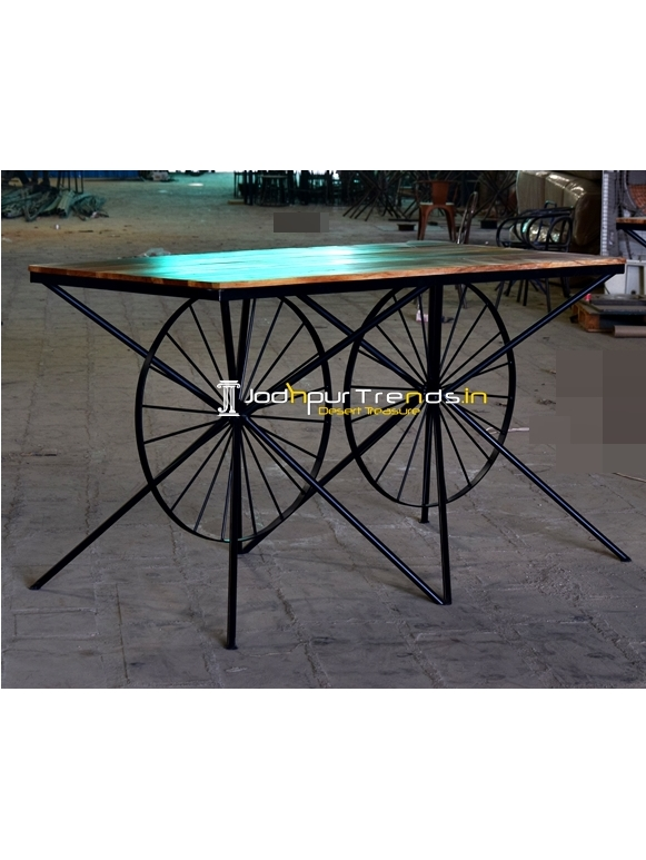 Metal Wheel Base Reclaimed Wood High Hospitality Table