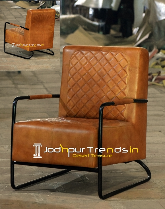 Modern Industrial Leather Metal Fine Dining Chair