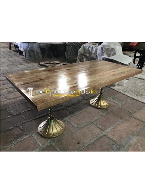 Natural Golden Finish Folding Design Dining Table