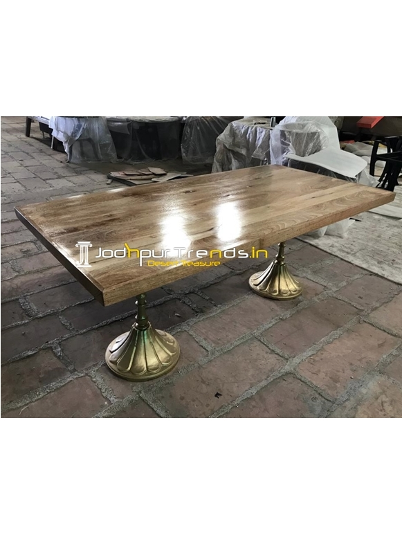 Natural Golden Finish Folding Design Dining Table